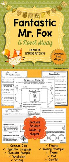 This 90-page literature unit for Fantastic Mr. Fox by Roald Dahl includes chapter-by-chapter analysis, 23 additional Common Core aligned activities, a Vocabulary assessment, Student Reference bookmarks, Culminating Project Choices, and more! Open-ended questions and graphic organizers are easily adaptable to every type of learner. Purchase today, and use an adventurous book to teach tricky Common Core standards!