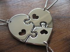 Three Piece Heart Puzzle with Hearts, best friend puzzle heart pendant necklaces
