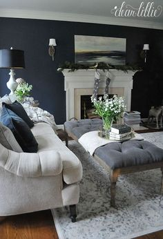 Gorgeous Formal Living Room Decor Ideas is part of Formal Living Room Designs - Majority of households especially those who are executives and those who don't have small kids at home prefer […] Home Living Room, Farm House Living Room, Living Room Red, Trendy Living Rooms, Dark Blue Living Room, Formal Living Room Decor, Living Room Grey, Blue Living Room Decor, Living Decor