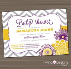 Baby Girl Shower Invitation, Chevron, Floral, Customize Your Colors, Girl, (PRINTABLE FILE), Grey, Gray, Purple, Yellow