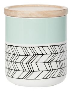 Buy General Eclectic Medium Canister - Mint Feather online and save! All-purpose ceramic storage container in a great Mint Feather print! 10 x Ceramic with Oak Lid