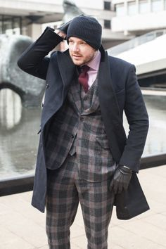 Navy & Black Cashmere DB Overcoat by Michael Andrews Bespoke (designed by Dan Trepanier) Black Ski Mask from Army/Navy Store Plaid flannel s...