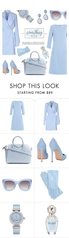 """monochrome baby blue"" by freshprincesse ❤ liked on Polyvore featuring Michael Kors, MM6 Maison Margiela, Givenchy, Gianvito Rossi, Alice + Olivia, Anja, OMEGA, Marc Jacobs, Adriana Orsini and monochrome"