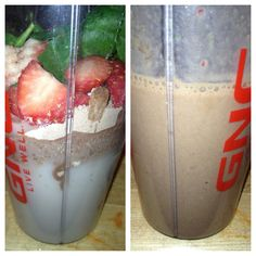 Arbonne protein shake for breakfast. Chocolate mix with strawberries, spinach, and almond milk.