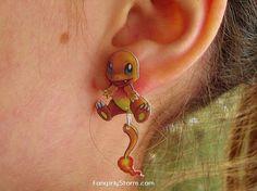 Charmander Pokemon Clinging earrings Handmade kawaii gamer two part front and back post earrings
