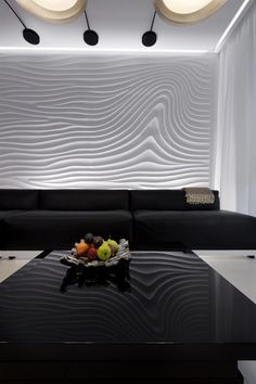 """""""Flow Wave"""" backdrop in private residence in Kiev. Armourcoat sculptural"""
