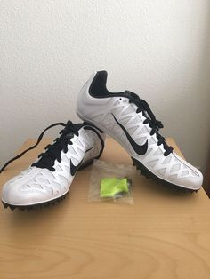 98d26fb2f9807 Nike ZOOM MAXCAT Mens Size 12.5 Track Field Racing Sprint Spikes White Black   fashion