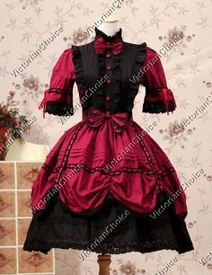 Victorian Gothic Lolita Lace Princess Knee Length Dress Cosplay Steampunk 229 S #VictorianChoice #Dress