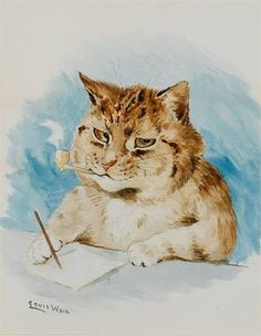 "Louis Wain, Cat writing ""He writes in bad grammar if that usually bugs you, it is going to bugs you. """
