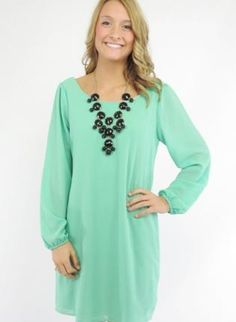 Mint Green Long Sleeve A-Line Dress with Scoop Neckline,  Dress, long sleeve  a-line dress, Casual