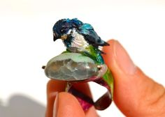 OOAK Barn Swallow Ring Treasure Keeper, Polymer Klay, Gemstone Statement Jewelry Collectable #Birds Art Rings, Free Shipping Barn Swallow, Swallow Bird, Copper Rings, Handmade Copper, Blue Rings, Statement Jewelry, Jewelry Art, Jewelry Collection, Clays