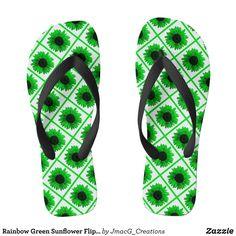 Rainbow Green Sunflower Flip Flops - Durable Thong Style Hawaiian Beach Sandals By Talented Fashion & Graphic Designers - #sandals #flipflops #hawaii #beach #hawaiian #footwear #mensfashion #apparel #shopping #bargain #sale #outfit #stylish #cool #graphicdesign #trendy #fashion #design #fashiondesign #designer #fashiondesigner #style