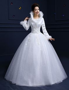 Ball Gown Wedding Dress Vintage Inspired Floor-length Scoop Cotton Lace Tulle with Beading Feather / Fur Lace Sequin 5435988 2017 – $119.99
