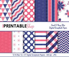 Printable Navy Blue & Coral Scrapbook Paper  by YourPrintableShop