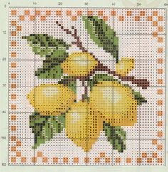 """Photo from album """"Рукоделие"""" on Yandex. Embroidery Patterns Free, Vintage Embroidery, Counted Cross Stitch Patterns, Cross Stitch Charts, Cross Stitch Designs, Cross Stitch Embroidery, Cross Stitch Fruit, Cross Stitch Kitchen, Palestinian Embroidery"""