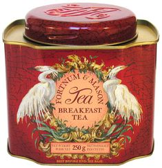 Fortnum & Mason Breakfast Tea tea tin, red with birds (egrets?) flanking oval name label, square w/ concave corners and screw cap lid, London, UK