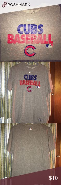 Nike Dri Fit Chicago Cubs MLB Gray Tee Shirt Excellent used condition Chicago Cubs baseball tee. Major League Baseball World Series Champions. Nike Dri Fit cotton poly blend, which means it is very soft and comfortable! Authentic Collection Performance wear. Men's size Large, runs small and fits like a Medium. Nike Shirts Tees - Short Sleeve