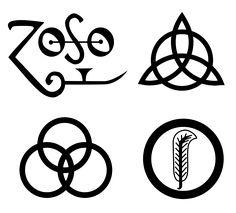 """ Four Symbols "" used on Led Zeppelin IV via File: Zoso-square-layout.svg"