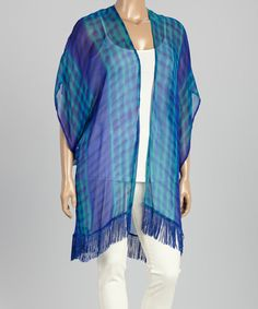 Very Pretty! This will go w everything. Love this Blue Tie-Dye Open Cardigan - Plus on #zulily! #zulilyfinds