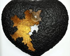 We made a lamp from a balloon and paper mache step by step tutorial heart ceiling lampshade black golden handmade lighting paper pulp lampshade handmade eco friendly lamp aloadofball Gallery