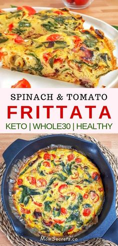 This spinach tomato frittata is a keto, low carb and recipe that's perfect for any meal from brunch to dinner, they're easy and delicious. recipes for dinner Best Spinach Tomato Fritta - Keto, & Healthy Recipe Healthy Frittata, Spinach Frittata, Frittata Recipes, Quiche, Easy Frittata Recipe, Low Carb Recipes, Diet Recipes, Cooking Recipes, Healthy Recipes