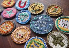 Embroidered DIY Merit Badges- sew onto a blanket instead of clothing for a more used keepsake