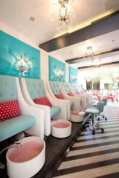 Paola Pedi and Mani Chair Spa Fly More Fun colors and design. Nail Salon Design, Nail Salon Decor, Beauty Salon Decor, Beauty Salon Design, Beauty Salon Interior, Beauty Bar, Spa Interior, Salon Interior Design, Schönheitssalon Design