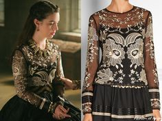 """In the episode 3x08 (""""Our Undoing"""") Queen Mary wears this Temperley London Almas Satin-Trimmed Embroidered Tulle Top (€1,130).Worn with Gillian Steinhardt   labyrinth and signet    rings"""