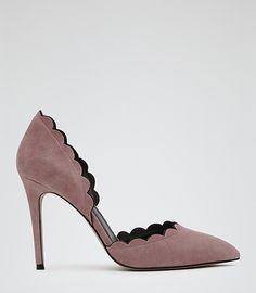 Womens Soft Pink Scallop-edge Heels - Reiss Libertine