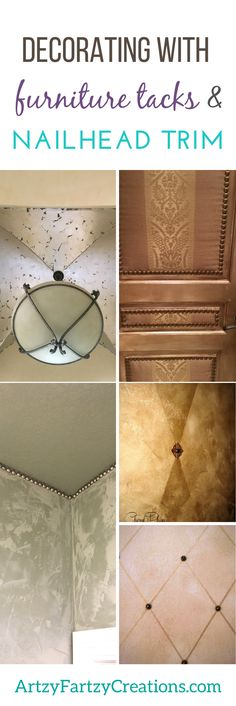 Decorating with Furniture Tacks and Nailhead Trim   Decorating Ideas   Faux Finish   Molding & Trim   Door Ideas   Painted Ceiling Ideas   Upcycled Decor Ideas   DIY Decor by Cheryl Phan of ArtzyFartzyCreations.com