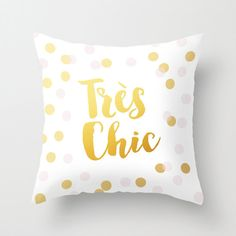 Très chic gold decorative throw pillows cover home decor housewares typographic bedding golden pillow gold and white confetti french