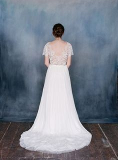SERAPHINA lace wedding dress with long train
