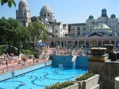 The outdoor pool at the Gellert, Budapest, Hungary. This pool has a wave machine, when the waves are about to start the speakers plays a little tune and everyone in the vicinity gets into the pool. It is so much fun!