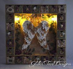 Glitter Tart Designs: Angel Wing Advent Calendar Shadowbox ~ Multiple Tutorials - found at http://cmoh.blogspot.com/2015/11/angel-wing-advent-calendar-shadowbox.html