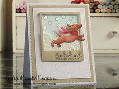 Dachshund through the snow Christmas Card by Lydia Brooke for Newton's Nook Designs - Holiday Hounds Dachshund Stamp set