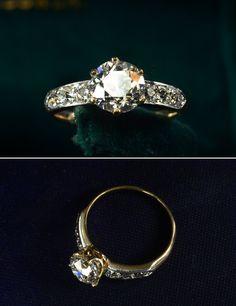 1900s Edwardian 1.45ct Old European Cut Diamond (G/H SI1) Ring Platinum, 18K, ~0.30ctw Old Mine Cut Diamond Sides, $10500