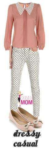TREND ALERT: Bold black & white prints. Pair a dusty pink blouse with the polka dot pant for a dressy-casual look!