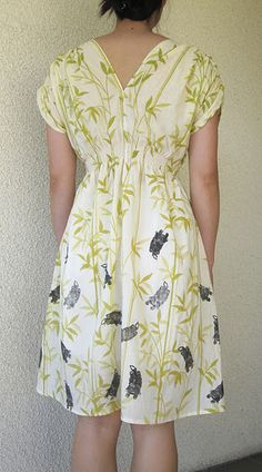 Cat Stamps on Bamboo Dress #printing #sewing