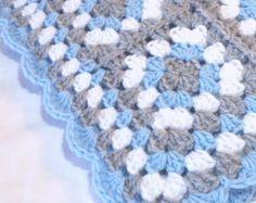 Crochet bebé manta abuela Plaza bebé manta bebé niño Manta Manta gris gris azul silla de paseo asiento cuna afgano