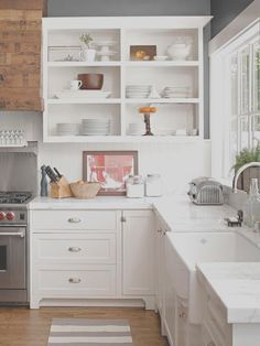 Open Shelving Kitchen Ideas, Natural Modern Interiors Open Kitchen Shelves Ideas, 65 Ideas Using Open Kitchen Wall Shelves Shelterness, Open Shelving Ideas for Your Kitchen Classic Casual Home, My Dream Home 10 Open Shelving Ideas for the Kitchen. 65 Ideas Using Open Kitchen Wall Shelves Shelterness, 26 Kitchen Open Shelves Ideas Decoholic  #coffeebarideaskitchenopenshelving... Open Kitchen Cabinets, Kitchen Cabinet Doors, Kitchen Shelves, Kitchen Countertops, New Kitchen, Kitchen Decor, Narrow Kitchen, White Cabinets, Kitchen Ideas