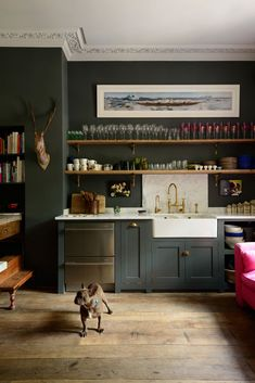 english kitchen gone rogue. the Islington Townhouse Kitchen by deVol with dark walls and vintage decor. / sfgirlbybaythe Islington Townhouse Kitchen by deVol with dark walls and vintage decor. Home Decor Kitchen, Interior Design Kitchen, Kitchen Furniture, New Kitchen, Kitchen Ideas, Furniture Stores, Green Kitchen, Kitchen Paint, Furniture Outlet