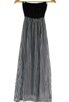 Black bandeau printed maxi bottom