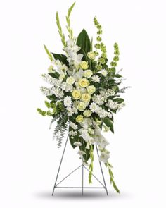 Order Magnificent Life Spray flower arrangements from All Flowered Up Too, your local Lubbock, TX florist. Send Magnificent Life Spray floral arrangement throughout Lubbock and surrounding areas. Arrangements Funéraires, Funeral Floral Arrangements, White Flower Arrangements, Condolence Flowers, Sympathy Flowers, Casket Flowers, Funeral Flowers, Flowers For You, White Flowers