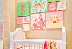 Coral Beach Theme Room featuring artwork by Meghann O'Hara for Oopsy daisy, Fine Art for Kids