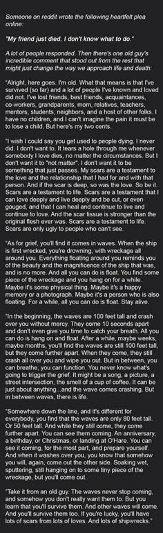 I don't know who wrote this piece about grief but it's powerful.