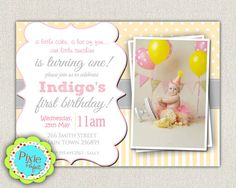 Yellow and Grey  Girls 1st Birthday by InvitationsByLittleP