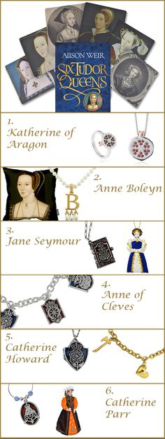 Inspired by the new Lucy Worsley BBC Tudor series, 'Six Wives', we have put together a collection featuring Henry VIII's six famous Tudor queens.  Henry was King of England from 1509 until his death in 1547. His six wives were Katherine of Aragon (divorced), Anne Boleyn (beheaded), Jane Seymour (died), Anne of Cleves (divorced), Catherine Howard (beheaded) and Kateryn Parr, who survived him.
