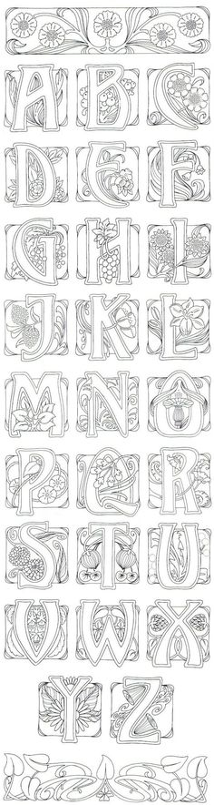 Art Nouveau- art journal idea: illustrate an alphabet.: