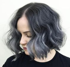 black+wavy+bob+with+gray+ombre+highlights