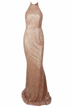 Honey Couture MELISA Gold Glitter Low Back Sequin Formal Gown Dress